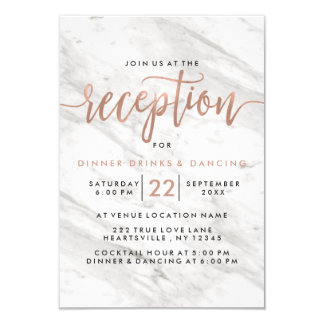 White Marble & Rose Gold Modern Wedding Reception Card