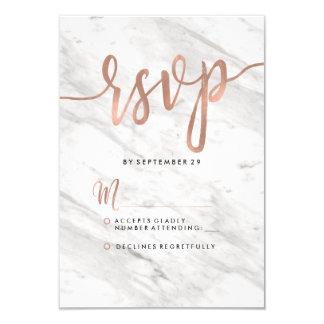 White Marble & Rose Gold Modern Wedding RSVP Card