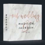 """White Marble &amp; Rose Gold Wedding Photo Album 3 Ring Binder<br><div class=""""desc"""">White Marble &amp; Rose Gold Modern Wedding Monogram Photo Album With trendy brush script font! ~ Check my shop to see the entire wedding suite for this design!</div>"""