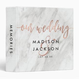 White Marble & Rose Gold Wedding Photo Album 3 Ring Binder