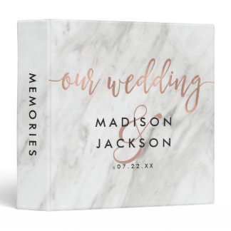White Marble & Rose Gold Wedding Photo Album 3 Ring Binder