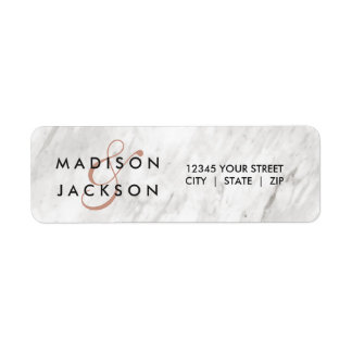 White Marble & Rose Gold Wedding Return Address Label