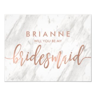 White Marble & Rose Gold Will You Be My Bridesmaid Invitation