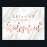 """White Marble &amp; Rose Gold Will You Be My Bridesmaid Invitation<br><div class=""""desc"""">White Marble &amp; Rose Gold Modern Wedding will you be my bridesmaid cards With trendy brush script font! ~ Check my shop to see the entire wedding suite for this design!</div>"""