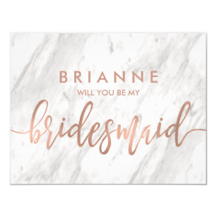 white marble rose gold will you be my bridesmaid invitation