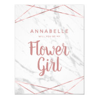 White Marble Rose Gold Will You Be My Flower Girl Invitation