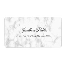 White Marble Script Luxurious Elegant Shipping Label