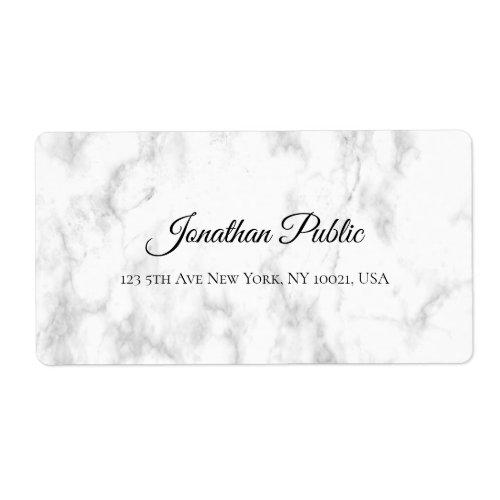 White Marble Script Luxurious Elegant Shipping Label