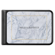 White Marble Stone & Gold Frame Accent Power Bank at Zazzle