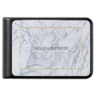 White Marble Stone & Gold Frame Accent Power Bank