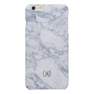 White Marble Stone Look Glossy iPhone 6 Plus Case