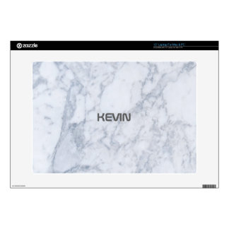 "White Marble Stone Monogram Decals For 15"" Laptops"