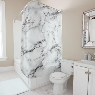 white marble stone texture shower curtain