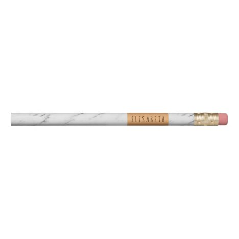 White marble stone with copper label and your name pencil