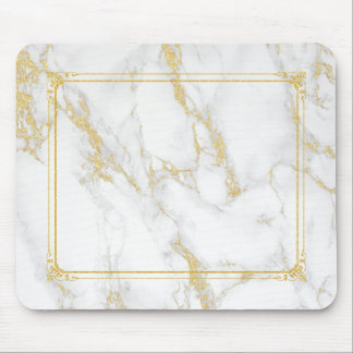 White Marble Stone With Gold Glitter Frame Mouse Pad