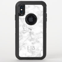 White Marble Texture Monogram iPhone XS Max Case