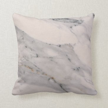 Beach Themed White Marble Throw Pillow