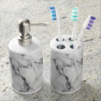 White Marble Toothbrush Holder/ Soap Dispenser Set