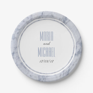 Wedding Paper Plates - White Marble Wedding Stationery Paper Plate