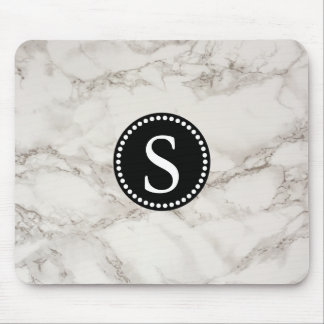White Marble with Black Monogram Mouse Pad