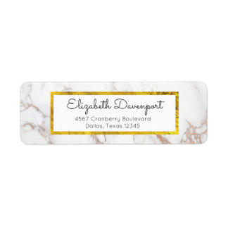 White Marble with Faux Gold Foil Frame Label