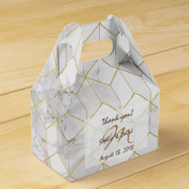 White Marble with Gold Cube Pattern   Monogram Favor Box