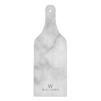 White Marble with Personalized Monogram and Name Cutting Board