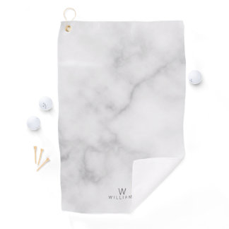 White Marble with Personalized Monogram and Name Golf Towel