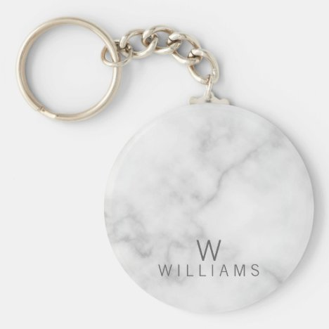 White Marble with Personalized Monogram and Name Keychain