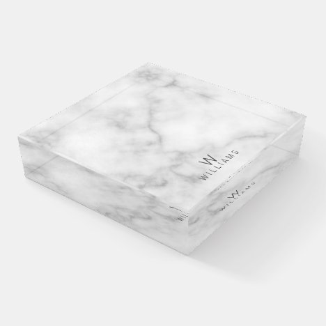 White Marble with Personalized Monogram and Name Paperweight