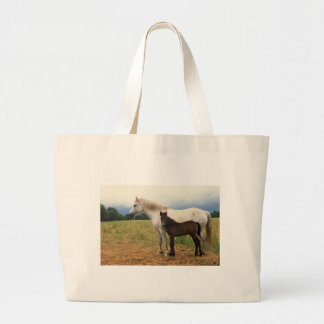 White Mare with Bay Foal Canvas Bags