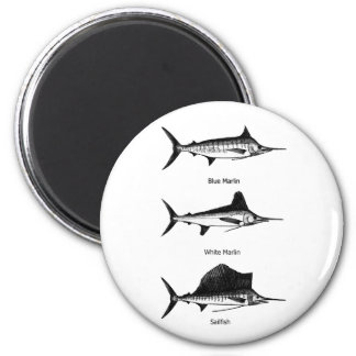 White Marlin - Blue Marlin - Sailfish Logo Fridge Magnets