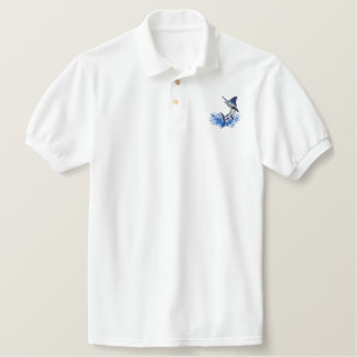 White Marlin Embroidered Polo Shirt