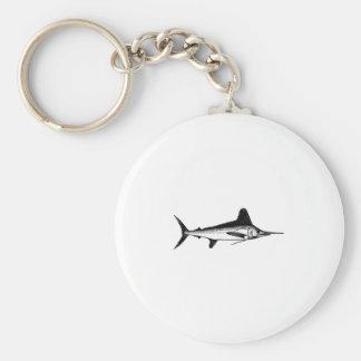 White Marlin Line Art Logo Basic Round Button Keychain