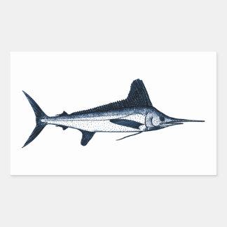 White Marlin Logo Rectangular Sticker