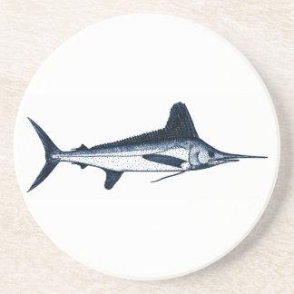 White Marlin Logo Sandstone Coaster
