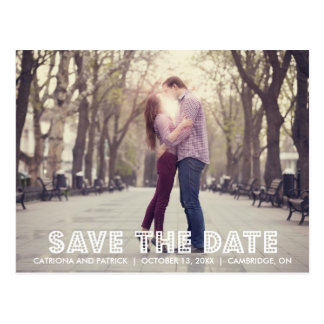 White Marquee Save the Date Announcement Postcard