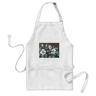 white marsh hibiscus on brown adult apron