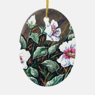 white marsh hibiscus on brown ceramic ornament