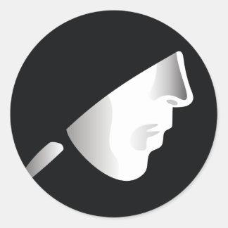 White mask on black background classic round sticker
