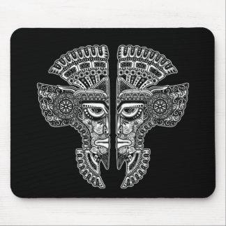 White Mayan Twins Mask Illusion on Black Mouse Pad