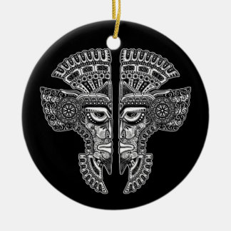 White Mayan Twins Mask Illusion on Black Double-Sided Ceramic Round Christmas Ornament