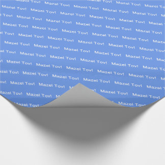 White Mazel Tov! (Congratulations)/Cornflower Blue Wrapping Paper