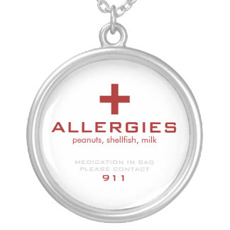 White Medical Alert, Allergies Silver Plated Necklace