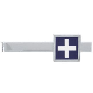 White Medical Cross Symbol Silver Finish Tie Clip