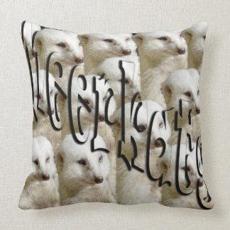 White Meerkat Army Logo, Large Throw Cushion. Throw Pillow