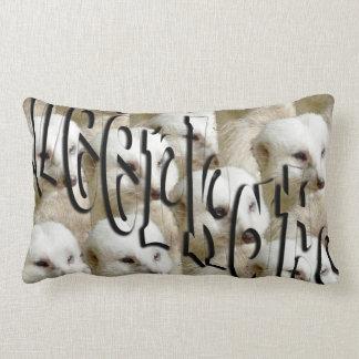 White Meerkat Army Logo, Lumbar Cushion. Lumbar Pillow