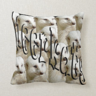 White Meerkat Army Logo, Throw Cushion. Throw Pillow