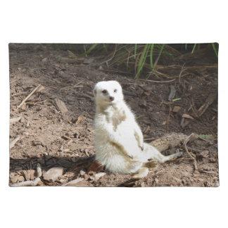 White_Meerkat_Grins,_Cloth_Placemats. Cloth Placemat
