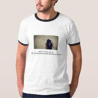 White men's shirt with black trim around neck